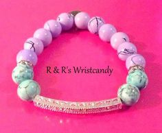 Lavender and Aqua Beaded Bracelet by RandRsWristCandy on Etsy, $9.00