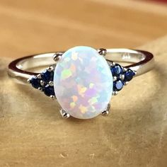 Lab Created White Opal Black Zircon 925 Sterling Silver Cabochon Stone Ring SD SD9R0150447. Starting at $1