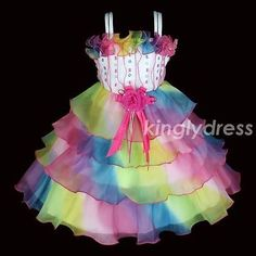 NEW-Flower-Girl-Pageant-Wedding-Party-Dancing-Dress-Multi-Color-Kids-SZ-3-8-A718