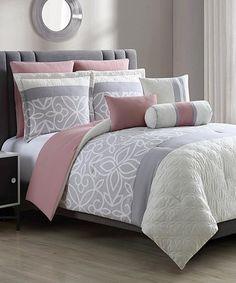 Gray & White Bradlie Eight-Piece Comforter Set