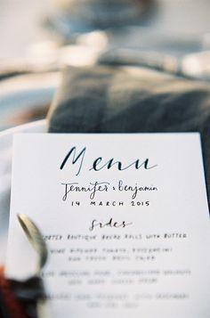 Coastal-inspired wedding stationery. #menu #beachwedding