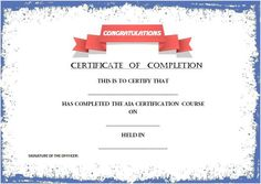 word template certificate of completion