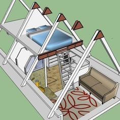 Finished Attic Design, Pictures, Remodel, Decor and Ideas - page Only 4 young, spry people! Tiny House Cabin, Tiny House Design, Cabin Homes, Hut House, A Frame Cabin Plans, Triangle House, Finished Attic, Attic Design, Attic Remodel