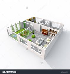 Interior Rendering Of Furnished Home Apartment With Veranda Room