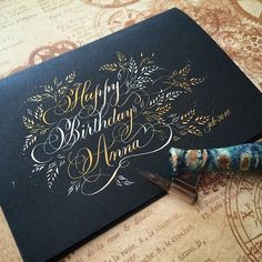 Birthday card for a friend using a blend of gold and silver inks. by oliveleafcalli Flourish Calligraphy, Calligraphy Cards, Calligraphy Drawing, Copperplate Calligraphy, Calligraphy Envelope, Calligraphy Handwriting, Envelope Art, Calligraphy Alphabet, Modern Calligraphy