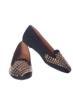 Glitter Flats with Studs - Black $19.99 Shine and sparkle in these loafer-like flats that are covered in shimmering glitter. The entire front of these flats have pyramid like studs for an extra wow factor. http://paradiseinternetmall.net/