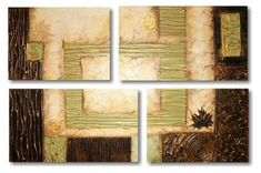 cuadros tripticos texturados para decorar