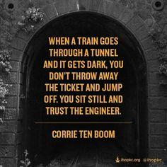 Dark tunnel, ride the train, trust the engineer- don't jump, sit still. Corrie Ten Boom