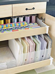Must get this in future scrapbooking room - rolling drawers to store paper!