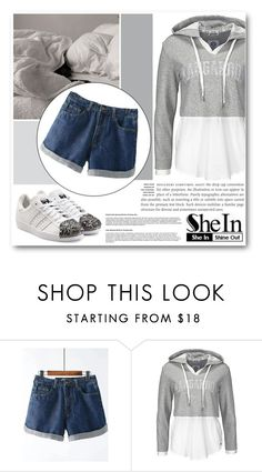 """Shein Blue Denim Shorts"" by isis-anubis5 ❤ liked on Polyvore featuring adidas Originals"