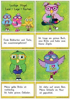 Deutsch, erstes lesen, Lesepiel, Lesekarten, Karten, Aussagen und passendes Bild verbinden, zuordnen, Lehrerblog Zaubereinmaleins,Vorschule, Klasse 1, Mittel, starke Leser, Lesekompetenz, Leseverständnis, Textverständnis, Thema Vögel