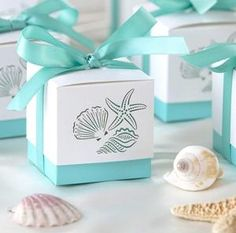 12 two piece beachy box sets for small gifts/favors.