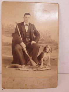 Photo Cabinet Card Man Dog Gun Man's Best Friend Fox Pelt