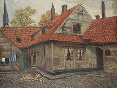 """Mstislav Valerianovich Dobuzhinsky  (1875-1957)  """"Bruges Courtyard"""""""