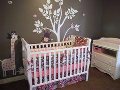 Pink & Gray Modern Jungle Nursery Crib Set