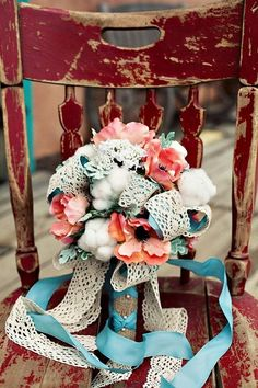 Burlap, lace, peach and turquoise bouquet wedding flowers by TinyCarmen