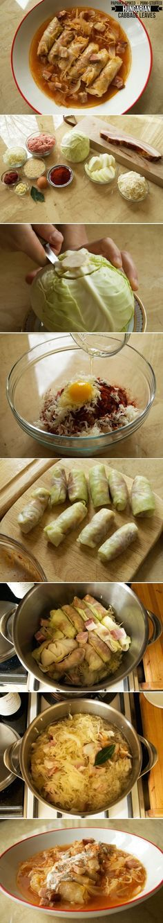 Hungarian GP: Toltott kaposzta are Hungarian stuffed cabbage rolls with a sumptuous pork filling and, of course, loads of paprika! Ukrainian Recipes, Croatian Recipes, Hungarian Recipes, Russian Recipes, Cabbage Recipes, Pork Recipes, Cooking Recipes, Hungarian Cuisine, Hungarian Food