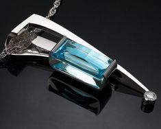 statement necklace - December birthstone - Swiss blue topaz - white sapphire - fine jewelry - contemporary jewelry - gemstone pendant - 3411