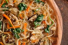 korean comfort food. chap chae. clear rice noodles with veggies and soy and sesame oil. soooo good!