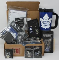 Fan-gear gift box of 6 Toronto Maple Leafs Products, best gift of NHL licensed souvenirs, Fan-gear at GREAT VALUE! Canada's sports gift box service, combos available in CAD or build your OWN BOX! Certificate Of Achievement, Sports Gifts, Toronto Maple Leafs, In Writing, Fan Gear, Nhl, Best Gifts, Fans, Content