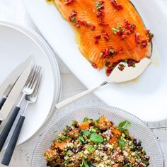 Christmas Smoked Salmon with Celebration Couscous By Nadia Lim Smoked Salmon Pizza, Salmon Recipes, Seafood Recipes, Chicken Recipes, Just Cooking, Fish Dishes, Couscous, Fish And Seafood, I Foods