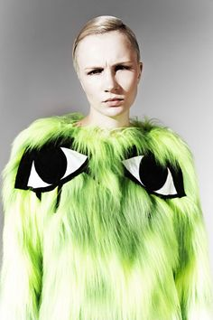 JOANNA PYBUS A/W13 Toxic Monster Furry Eye Applique Jumper