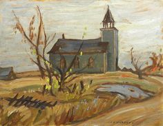 Jackson - Church at Vennachar Group Of Seven Artists, Group Of Seven Paintings, Canadian Painters, Canadian Artists, Tom Thomson Paintings, Landscape Paintings, Landscapes, Emily Carr, Art Eras