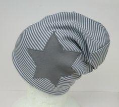 Mützen - Beanie,grau geringelt,Stern,Wunschgröße - ein Designerstück von Martina-Bormann bei DaWanda