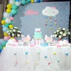 Ice Cream Theme, Party Themes, Birthday Cake, Baby Shower, Candy, 1, Kawaii, Bow Braid, Cloud Party