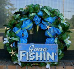 Gone Fishing Deco Mesh Wreath Basketball Crafts, Football Crafts, Baseball Wreaths, Football Wreath, Camo Wreath, Skateboard Shelves, Sports Signs, Shadow Box Art, Sport Craft