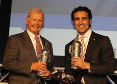 Parnelli Jones, left, winner of the 1963 Indy and 2012 race winner Dario Franchitti pose with their miniature Borg-Warner trophies Wednesday. Jones was honored on the anniversary of his victory. Parnelli Jones, Detroit Auto Show, Detroit Free Press, 50th Anniversary, Champs, Victorious, Wednesday, Indie, Miniature