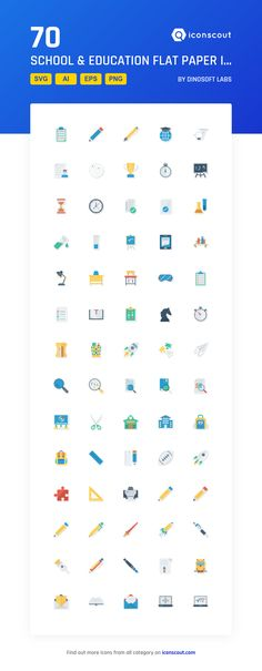 School & Education Flat Paper Icons  Icon Pack - 70 Flat Icons