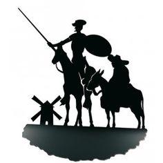 Sujetalibros Quijote y Sancho Stencil Art, Stencils, Dom Quixote, Graffiti Murals, Dream Tattoos, Silhouette Art, Let's Create, Felt Toys, Whimsical