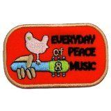 1.9' x 3.1' Everyday Peace Music Woodstock Guitar Hippie Boho DIY Embroidered Sew Iron on Patch ** For more information, visit image link.