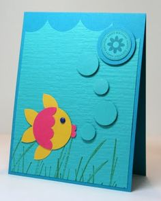 This adorable fish will grace the front of your little cutie's birthday card after you DIY - have fun!