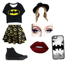 """BATMAN FAN OUTFIT"" by crazyandstupid12 on Polyvore featuring Converse, Casetify, Lime Crime and Rhythm."