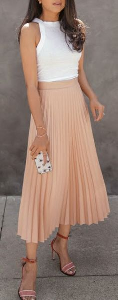 Peach pleated midi skirt.