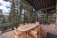 This mountain home, designed for and built in the Pine Mountain area of Kamas, Utah. Every effort was made to preserve the existing vegetation around the home, so the entry and presentation of the home is impeccably impressive. Entering the home, you will find high, vaulted ceilings,and an abundance of exposed-timber framing, creating an equally striking view on the interior. Large common areas, built-in bunk beds, and patio space make this home a perfect family retreat. #cabin #patio Custom Home Builders, Custom Homes, Kamas Utah, Bunk Beds Built In, Pine Mountain, Outdoor Tables, Outdoor Decor, Vaulted Ceilings, Common Area