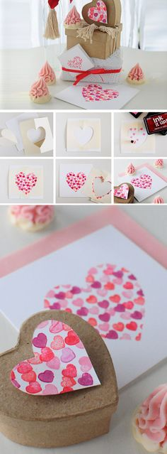 Heart Stamped Card & Box | Click Pick for 23 DIY Valentines Cards For Him | Handmade Valentines Cards For Friends