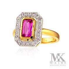 Handmade 18ct yellow & white gold pink sapphire & diamond cluster ring. mckims.com.au