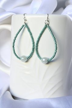 Green Beaded Hoop Earrings