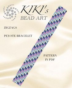 Peyote pattern Zigzags peyote bracelet PDF pattern instant   Etsy Loom Bracelet Patterns, Peyote Stitch Patterns, Bead Loom Patterns, Beading Patterns, Beading Tutorials, Peyote Beading, Bargello Patterns, Seed Beads, Loom Beading