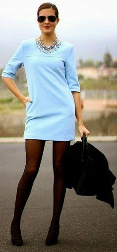Elegant sky blue colour top, with black cool leggings