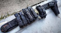 HSGI slim grip belt in black Combat Gear, Combat Knives, Duty Belt Setup, War Belt, Special Forces Gear, Radios, Battle Belt, Police Gear, Airsoft Gear