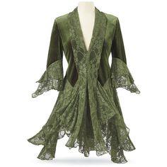 Goddess Plus Sizes (320 RON) ❤ liked on Polyvore featuring green jacket, celtics jacket, green lace jacket, velvet gothic jacket and velvet jackets