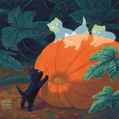 Heather Franzen - Halloween Reunion - Fantasie - Katzen World Halloween Illustration, Art And Illustration, Art Inspo, Kunst Inspo, Inspiration Art, Fantasy Kunst, Fantasy Art, Arte Peculiar, Art Mignon