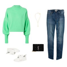 - This neon green stunner with voluminous sleeves is the easiest way to elevate your skinny jeans. An embellished cross-body and a lariat necklace lend a touch of glitz, while sneakers retain the overall off-duty vibe.