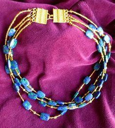Jasmine & Violets: Lapis Lazuli & Malachite Necklace with Gold Filled accent bead and clasp