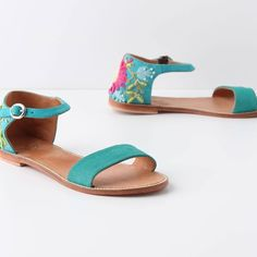 Anthropologie Paso Fino Sandals Miss Albright 7 Paso Fino Sandals  by Miss Albright  Brand new without box.  Size 7.  Sold out everywere!    Absolutely gorgeous!  Matches everything!  Fun embroidered flowers and beading!  DETAILS Beaded heels assure a grand exit, while the single-shade front straps lend extra versatility. By Miss Albright. Fits true to size Adjustable buckle Leather upper, insole, sole Imported Anthropologie Shoes Sandals