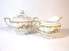 Antique Creamer and Sugar Sets | Vintage Noritake Floral Cream and Sugar Set, Art Deco, Made in Japan ...